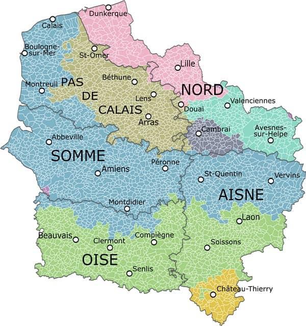 départements en région hauts de france